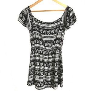 H&M♥️Coachella black elephants print dress, size 6